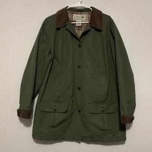 L.L. Bean Green Utility Jacket Corduroy Collar